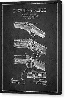 Browning Rifle Patent Drawing From 1921 - Dark Canvas Print by Aged Pixel