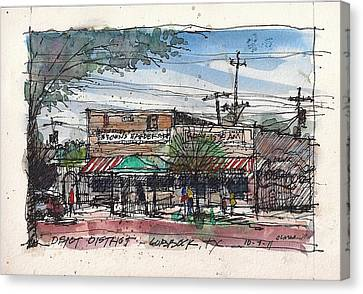 Canvas Print featuring the mixed media Brown's Barber Shop by Tim Oliver