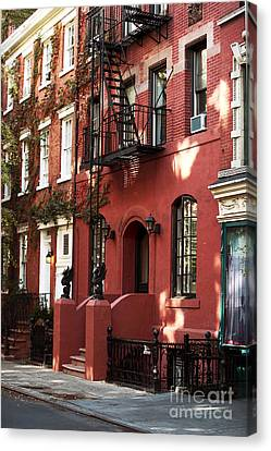 Nyc Fire Escapes Canvas Print - Brownstone by John Rizzuto