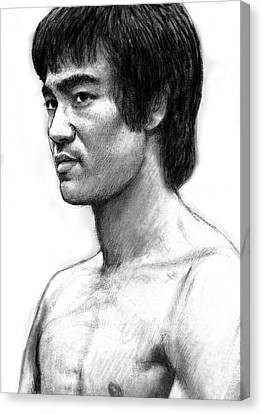 Bruce Lee Art Drawing Sketch Portrait Canvas Print by Kim Wang
