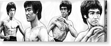 Bruce Lee Art Drawing Sketch Poster Canvas Print by Kim Wang