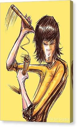 Canvas Print featuring the drawing Bruce Lee II by Tu-Kwon Thomas