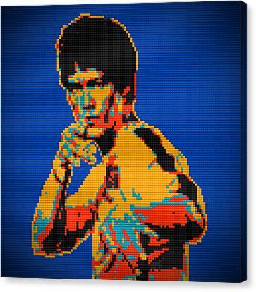 Bruce Lee Lego Pop Art Digital Painting Canvas Print by Georgeta Blanaru