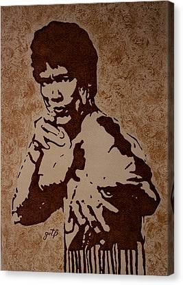 Bruce Lee Original Coffee Painting Canvas Print by Georgeta Blanaru