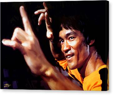 Shower Canvas Print - Bruce Lee by Paul Tagliamonte
