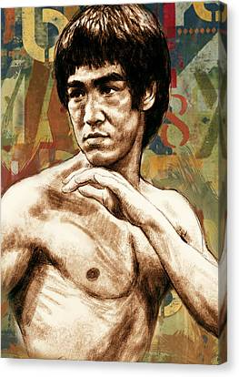Bruce Lee - Stylised Pop Art Drawing Portrait Poster  Canvas Print by Kim Wang