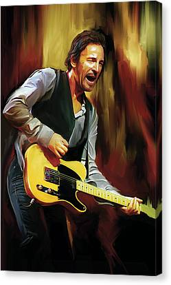 Bruce Springsteen Artwork Canvas Print by Sheraz A