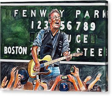 Bruce Springsteen At Fenway Park Canvas Print by Dave Olsen