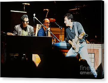 Bruce Springsteen Billy Joel And Paul Schaffer Canvas Print by Chuck Spang
