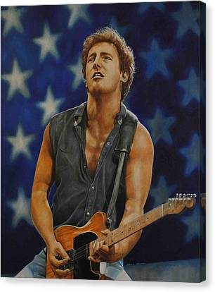 Bruce Springsteen 'born In The Usa' Canvas Print by David Dunne