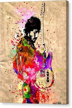 Bruce Springsteen Canvas Print - Bruce Springsteen Grunge by Daniel Janda