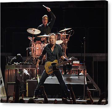 Bruce Springsteen In Concert Canvas Print by Georgia Fowler