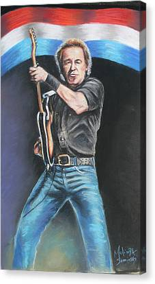 Canvas Print featuring the painting Bruce Springsteen  by Melinda Saminski