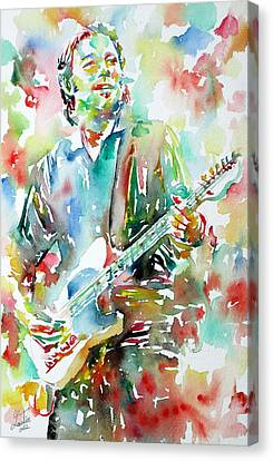 Bruce Springsteen Playing The Guitar Watercolor Portrait.3 Canvas Print