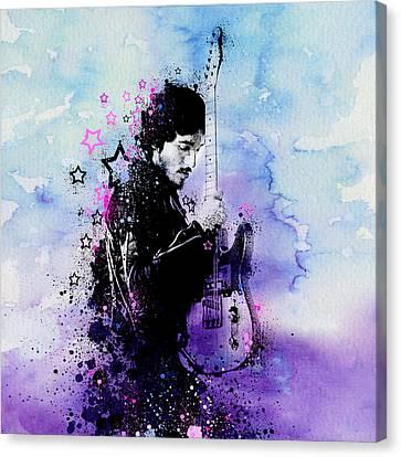 Bruce Springsteen Splats And Guitar 2 Canvas Print by Bekim Art