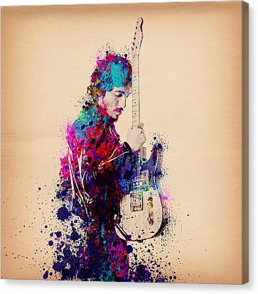 Roll Canvas Print - Bruce Springsteen Splats And Guitar by Bekim Art