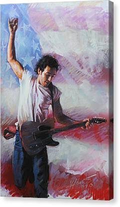 Bruce Springsteen The Boss Canvas Print by Viola El