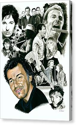 Bruce Springsteen Through The Years Canvas Print by Ken Branch
