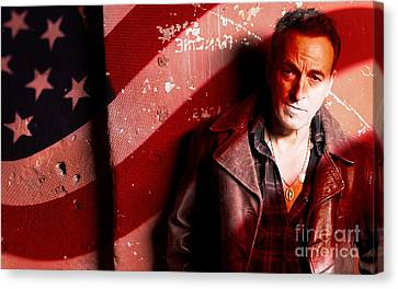 Bruce Springsteen Canvas Print - Bruce Springsteen Today And Yesteryear by Marvin Blaine