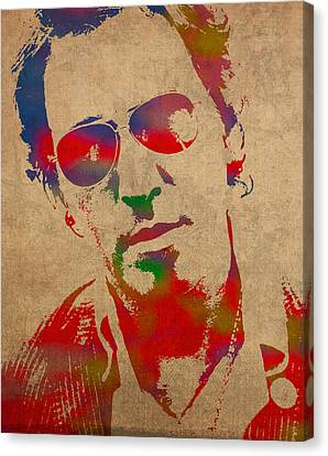 Portraits On Canvas Print - Bruce Springsteen Watercolor Portrait On Worn Distressed Canvas by Design Turnpike