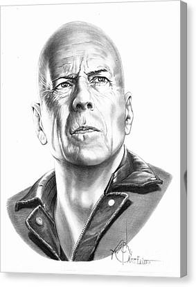 Bruce Willis Canvas Print by Murphy Elliott