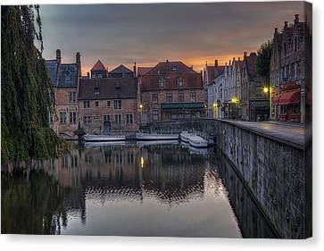 Reflected Canvas Print - Bruges Canal Dawn by Joan Carroll