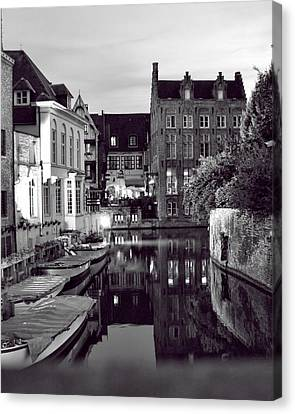 Bruges Canal In Black And White Canvas Print