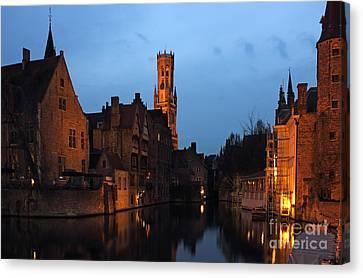 Bruges Rozenhoedkaai Night Scene Canvas Print by Kiril Stanchev