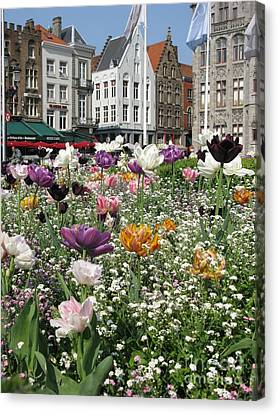 Canvas Print featuring the photograph Brugge In Spring by Ausra Huntington nee Paulauskaite