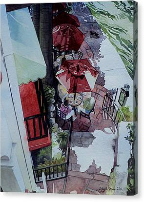 Canvas Print featuring the painting Brunch In San Antonio by Jeffrey S Perrine