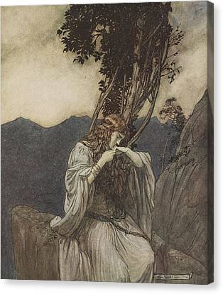 Brunnhilde Kisses The Ring That Siegfried Has Left With Her Canvas Print by Arthur Rackham