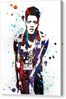Bruno Mars Canvas Print by Watercolor Girl