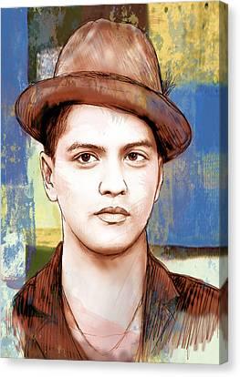 Bruno Mars - Stylised Drawing Art Poster Canvas Print by Kim Wang