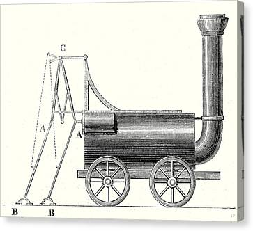Bruntons Locomotive With Crutches Canvas Print by English School