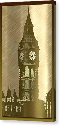 Brush Tone Big Ben Canvas Print by Debra     Vatalaro