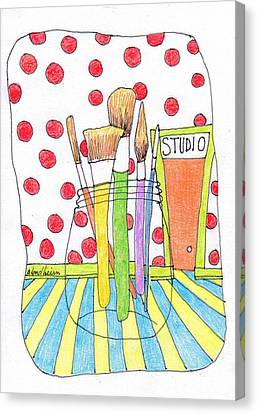 Toon Canvas Print - Brushes by Linda Blondheim
