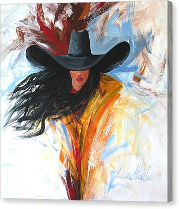 Contemporary Cowgirl Canvas Print - Brushstroke Cowgirl by Lance Headlee