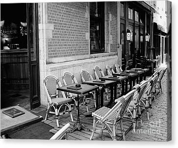 Brussels Cafe In Black And White Canvas Print by Carol Groenen