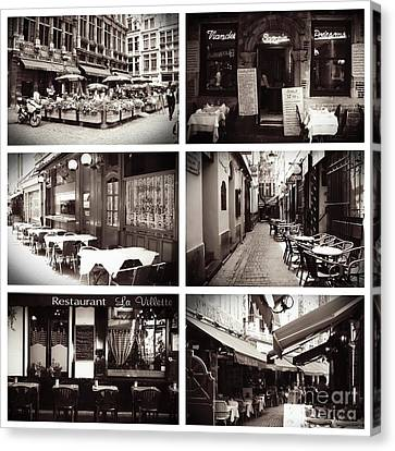 Brussels Cafes Collage Canvas Print by Carol Groenen