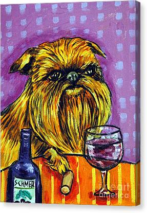 Brussels Griffon At The Wine Bar Canvas Print by Jay  Schmetz