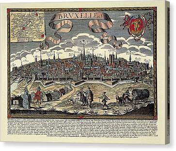 Brussels In 17th C. Engraving. � Canvas Print by Everett