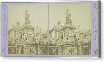 Brussels, The Funerary Monument In Martyrs Square Canvas Print