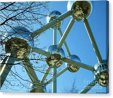 Canvas Print featuring the photograph Brussels Urban Blue by Ramona Matei