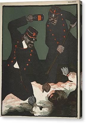 Brutality Of Policemen, Illustration Canvas Print by Georges d' Ostoya
