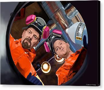 Bryan Cranston As Walter White And Aaron Paul As Jesse Pinkman @ Tv Serie Breaking Bad Canvas Print