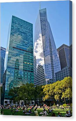 Bryant Park And Architecture Canvas Print by Dawn Williams