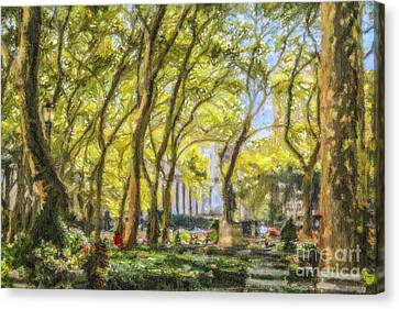 Bryant Park October Morning Canvas Print