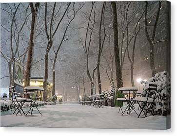Bryant Park - Winter Snow Wonderland - Canvas Print by Vivienne Gucwa