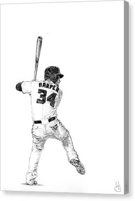 Bryce Harper Canvas Print by Joshua Sooter