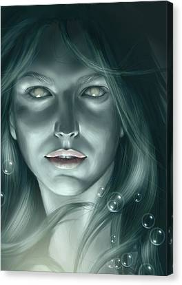 Siren Canvas Print - Bubble Mermaid by Bernadett Kovacs